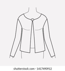Short cardigan icon line element.  illustration of short cardigan icon line isolated on clean background for your web mobile app logo design.