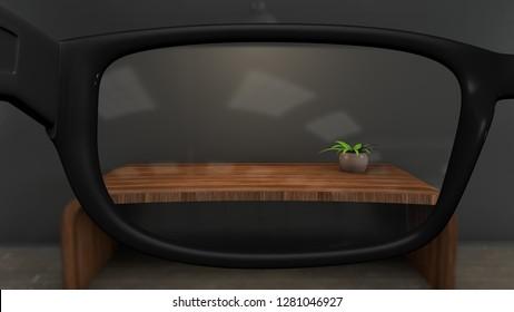 Short Long Sightedness Glasses Optimetrist Concept