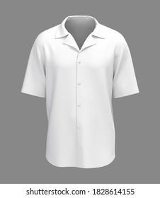 Short sleeve camp shirt mockup. 3d rendering, 3d illustration