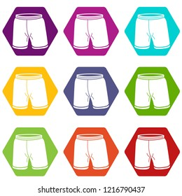 Shorts icons 9 set coloful isolated on white for web