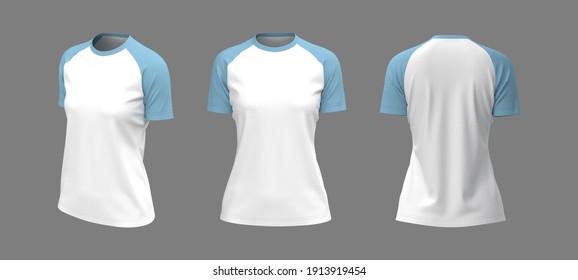 Short-sleeve raglan t-shirt mockup, 3d illustration, 3d rendering
