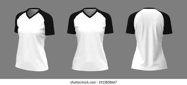 Short-sleeves raglan t-shirt mockup, 3d illustration, 3d rendering