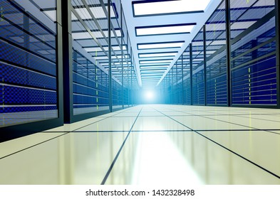 Shot of Corridor in Working Data Center Full of Rack Servers and Supercomputers. Point of view. 3D render