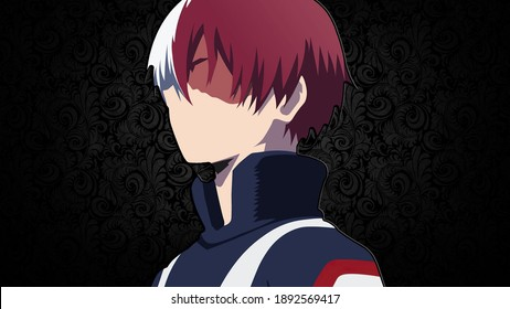 Shoto Todoroki is the tritagonist in the manga and anime series, My Hero Academia. He is a student at U.A. High School training to become a Pro Hero - 4k Wallpaper Anime Illustration