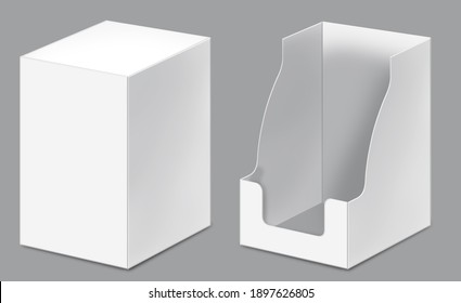 Show box blank mockup for set of sachet packaging in the food, cosmetic and hygiene. Open and closed views. 3D illustration