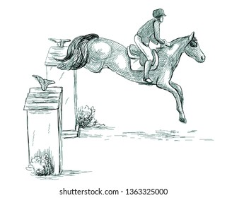 Show Jumping - English riding equestrian. An hand drawn illustration in line art style. Some rider jump on horse over obstacles. Isolated on white.