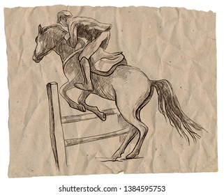 Show Jumping - English riding equestrian. An hand drawn illustration in line art style. Some rider jump on horse over obstacles.