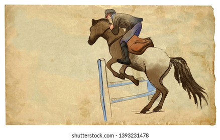 Show Jumping - English riding equestrian. An hand drawn illustration in line art style. Colored. Some rider jump on horse over obstacles. Drawing on an old sheet of paper.