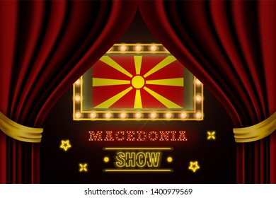 Show time board for performance, cinema, entertainment, roulette, poker of Macedonia country event. Shining light bulbs vintage of Macedonia country name