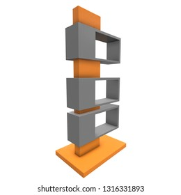 Showcase Displays Retail Shelves Stand. Trade show booth. 3d render illustration isolated on white background. Template mockup for your design.