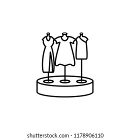 showcase with dresses outline icon. Element of shopping icon for mobile concept and web apps. Thin line showcase with dresses icon can be used for web and mobile on white background