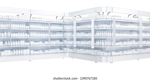Showcases with shelves and rounded sections and topper, goods on the shelves without branding. 3d illustration isolated on white