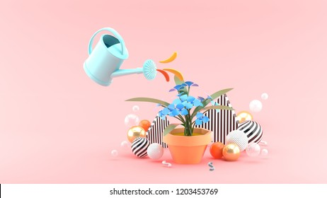 The shower watered down the flowers among the colorful balls on the pink background.-3d rendering.