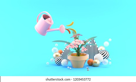 The shower watered down the flowers among the colorful balls on the blue background.-3d rendering.