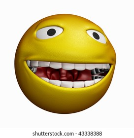 Showing a great bright yellow smiley laughing