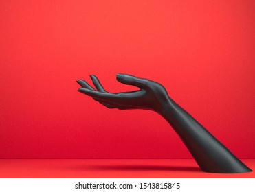 Showing hand. Black open palm presenting gesture isolated on red background, female hand sculpture, art fashion concept, modern promo creative banner, 3d rendering,