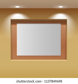 Showroom Panel. Horizontal poster hanging on the wall in the interior. For Mock up Your Design. 3D illustration.