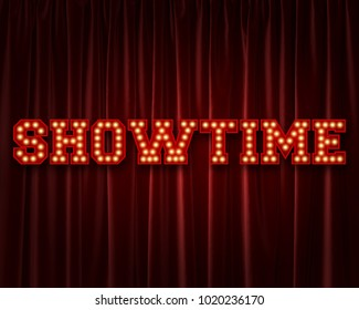 Showtime lightbulb lettering word against a red theatre curtain. 3D Rendering