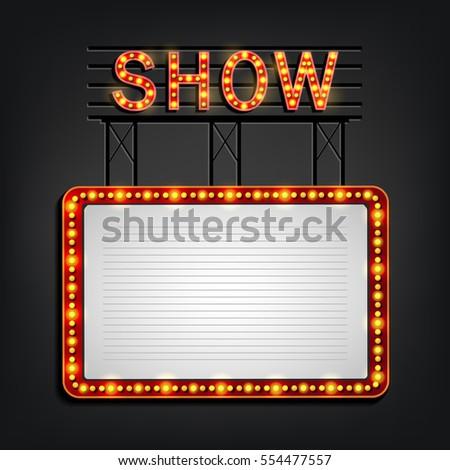 Showtime Signboard Retro Style Light Frame Stock Illustration ...