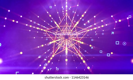A showy 3d illustration of a symmetric five pointed star neon channel with pentagon structures inside in the violet background with soaring angles, arrows, circles, and golden rays beaming around.