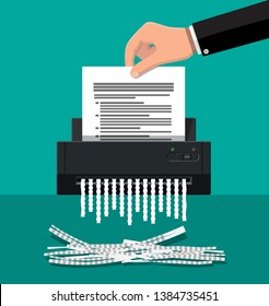 Shredder machine and hand with document paper. Office device for destruction of documents. illustration in flat style
