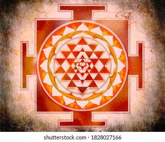 Shree Yantra in fire red, watercolor design
