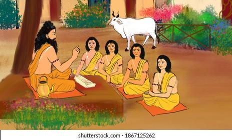 Shri Ram along with his brothers is in Gurukul. They are taking class from their Guru Rishi Vashisht Ji.
