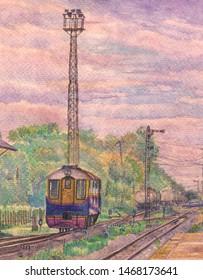Shunter locomotive was shunting oil train set.