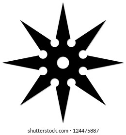 Shuriken / eight shaped throwing star / black white illustration