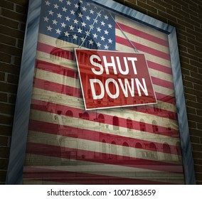 Shutdown for the American government and United States federal system with 3D illustration elements.