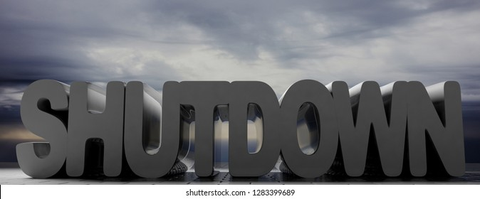 Shutdown, technology or government concept. Shutdown text on grey cloudy sky background, banner. 3d illustration