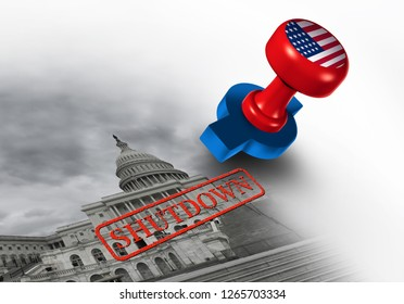 Shutdown of the United States government and USA closed or american federal shut down due to spending bill disagreement between the left and the right with 3D illustration elements.