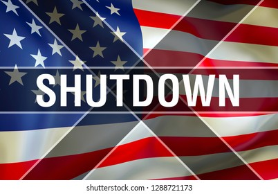 Shutdown US economic damage, 3d rendering. Government shutdowns in the United States. United States politics. Congress fails to pass sufficient bills. Budget and debt Shutdown in the US of America