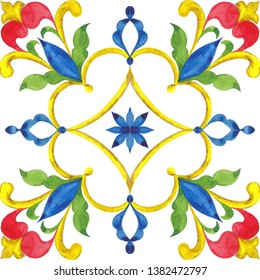 Sicilian ornament on the tiles, watercolor hand drawing, majolica style, floral element