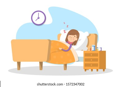 Sick child sleeping in the bed. Little kid with fever resting. Young kid under the blanket. Isolated  illustration in cartoon style