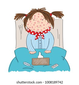 Sick girl with chickenpox, measles, rubeola or skin rash sitting in the bed with medicine, thermometer and paper handkerchiefs on the blanket - original hand drawn illustration