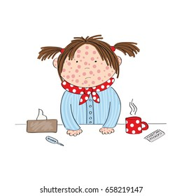 Sick girl with chickenpox, measles, rubeola or skin rash standing behind the table with hot tea, medicine, thermometer and paper handkerchief - original hand drawn illustration