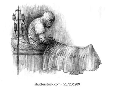 The sick person in a hospital bed coma . Graphic illustration of pencil on paper