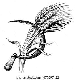 Sickle and wheat