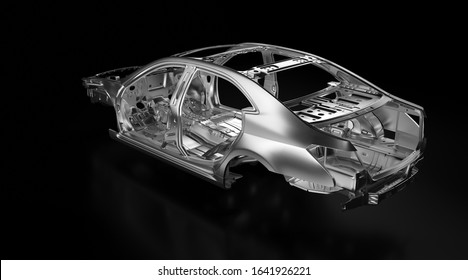 Side back view of production sedan car stainless steel or aluminium body and chassis frame. Metallic vehicle framing base isolated against black background with reflections. 3D rendering illustration.