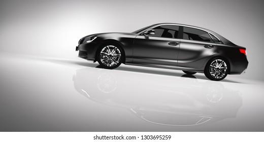 Side of black luxury car on white background. Generic, brandless design. Automobile, transportation. 3D illustration.