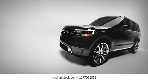 Side of black SUV vehicle on white background. Generic, brandless car. Automotive industry. 3D illustration.