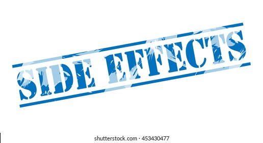 side effects blue stamp on white background