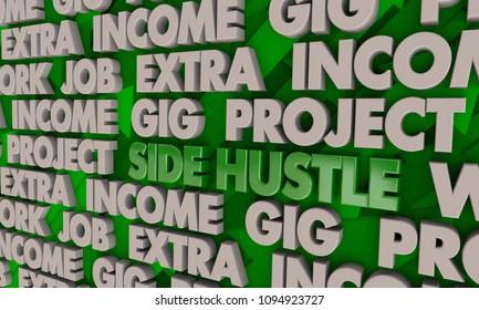 Side Hustle Gig Job Second Work Income 3d Render Illustration