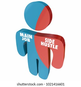 Side Hustle Vs Main Job Employee Entrepreneur 3d Illustration