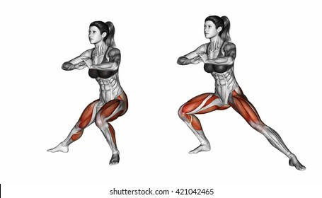 Side lunges. Exercising for Fitness. 3D illustration