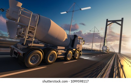 Side and Rear View of a Cement Mixer and a Tanker Truck on Bridge 3d rendering