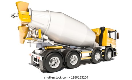 Side and Rear View of Cement Mixer 3d rendering