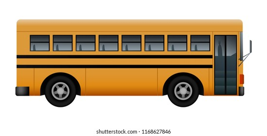 Side of school bus mockup. Realistic illustration of side of school bus mockup for web design isolated on white background