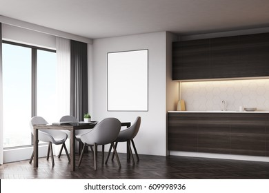 Side veiw of a dark wood kitchen with a table and a poster. There are countertops and a panoramic window. 3d rendering, mock up
